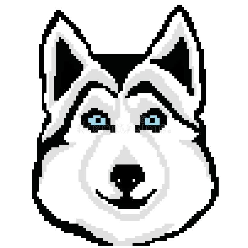 Places tirées de chien de traîneau de race de chien de museau, pixels Portrait de Husky Dog Illustration de vecteur illustration de vecteur