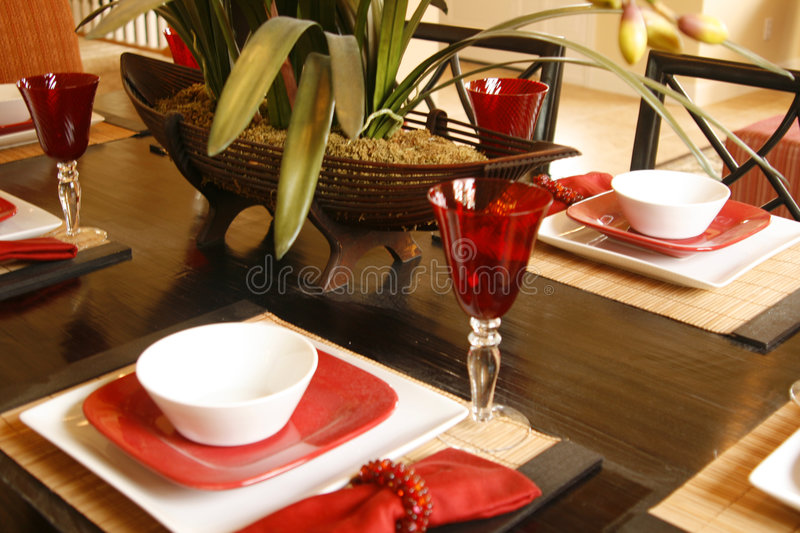 Download Placesetting In Red And White Stock Photo - Image of white, bamboo: 2328922