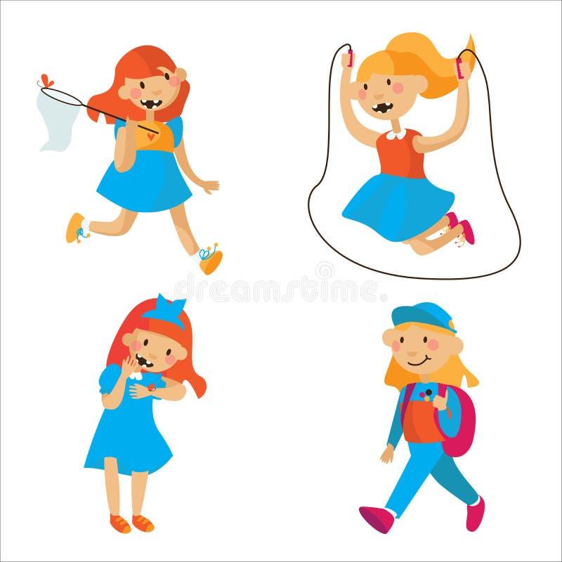 Placez avec de belles filles plates d'été jouant, en sautant dans des robes d'été, en ayant l'amusement D'isolement sur l'illustr illustration libre de droits