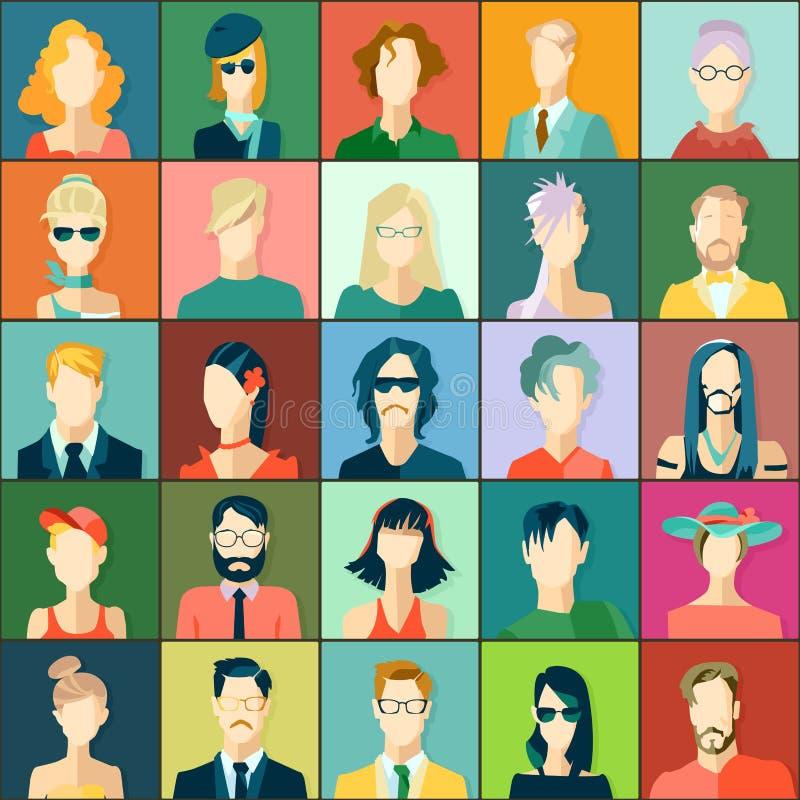 Placez avec des avatars, conception plate illustration libre de droits