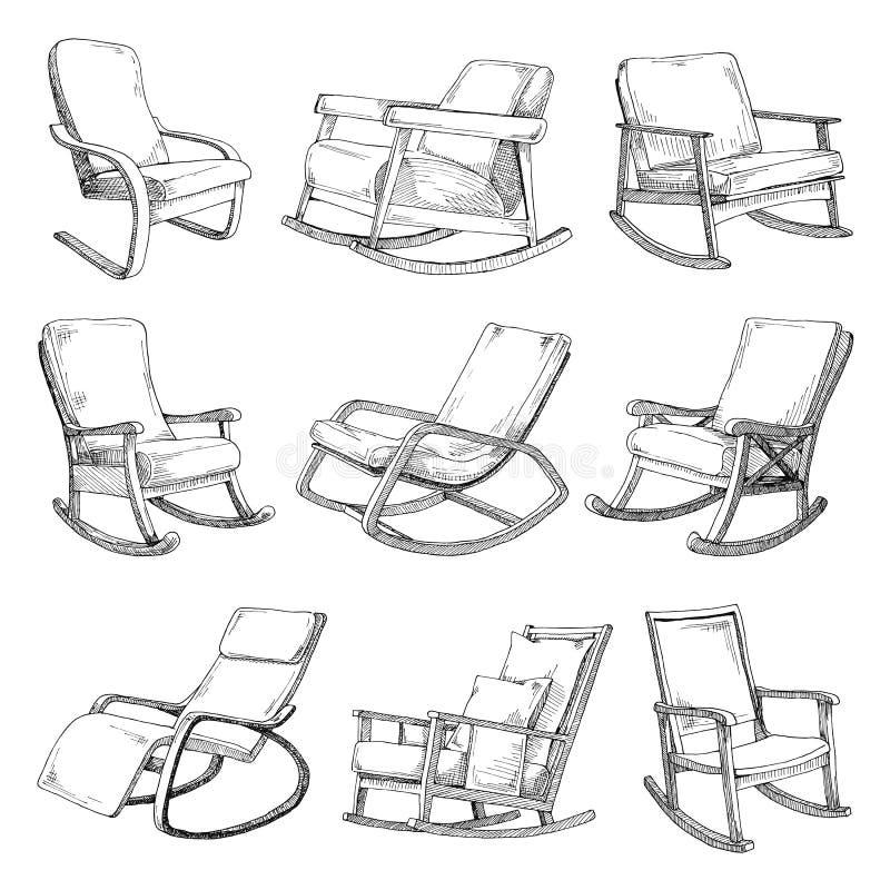 Placez avec des chaises de basculage d'isolement sur le fond blanc Esquissez une chaise confortable illustration stock