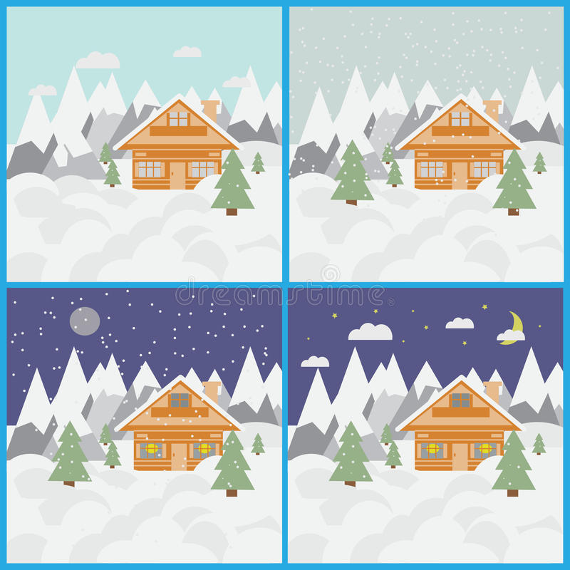 Placez avec des photos de paysage et de chalet de ski en montagnes avec la neige et des arbres jour et nuit avec des chutes de ne photos stock