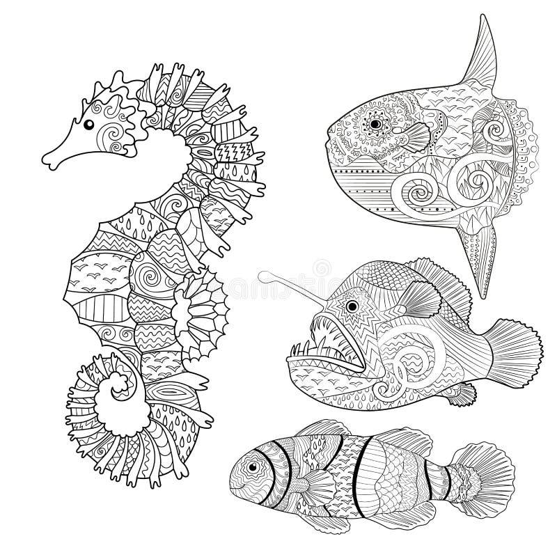 Placez avec des poissons de zentangle illustration stock