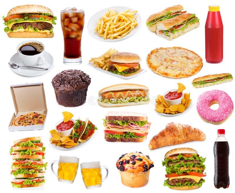 Placez avec des produits d'aliments de préparation rapide photo stock