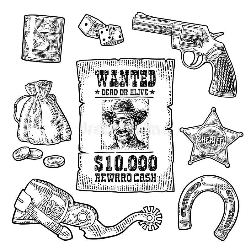 Placez avec des symboles sauvages d'ouest et de casino Vintage de vecteur gravant l'illustration noire illustration libre de droits