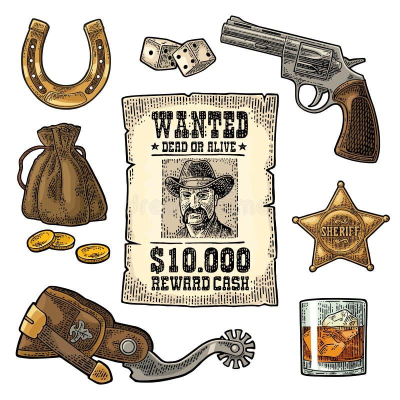 Placez avec des symboles sauvages d'ouest et de casino Vintage de vecteur gravant l'illustration noire illustration de vecteur