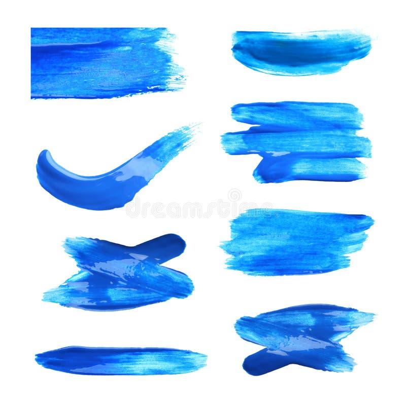 Placez avec des traçages abstraits de peinture bleue sur le fond blanc illustration libre de droits