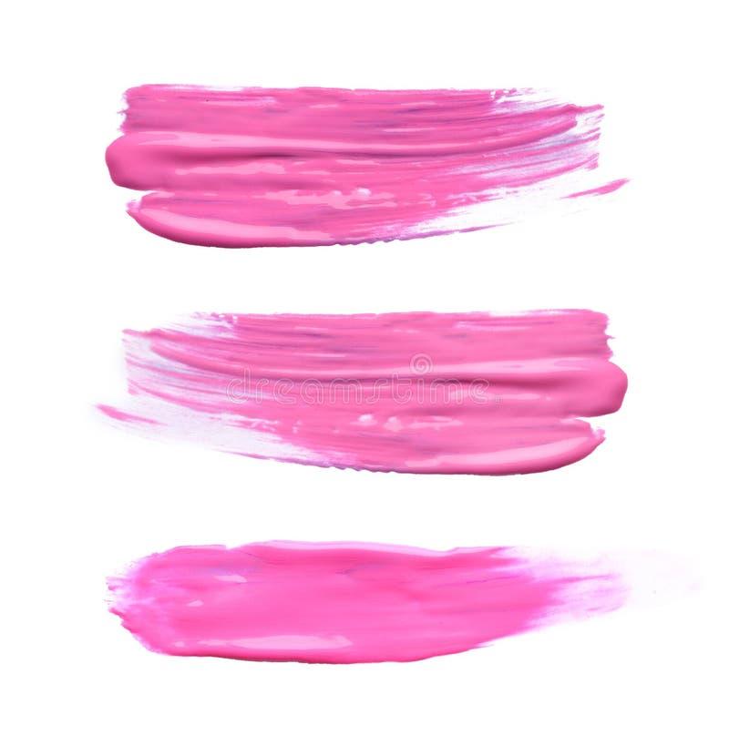 Placez avec des traçages abstraits de peinture rose sur le fond blanc illustration stock