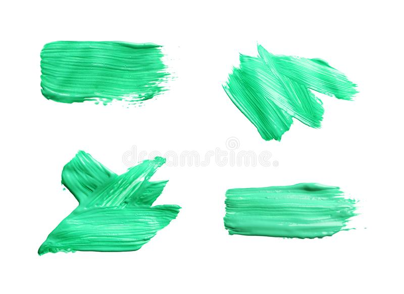 Placez avec des traçages abstraits de peinture verte sur le fond blanc illustration stock