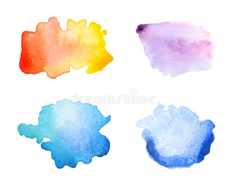 Placez avec des traçages abstraits des peintures d'aquarelle sur le fond blanc illustration de vecteur