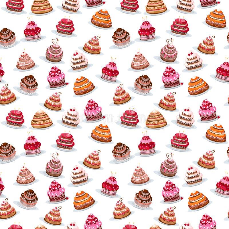 Placez avec différents gâteaux illustration stock