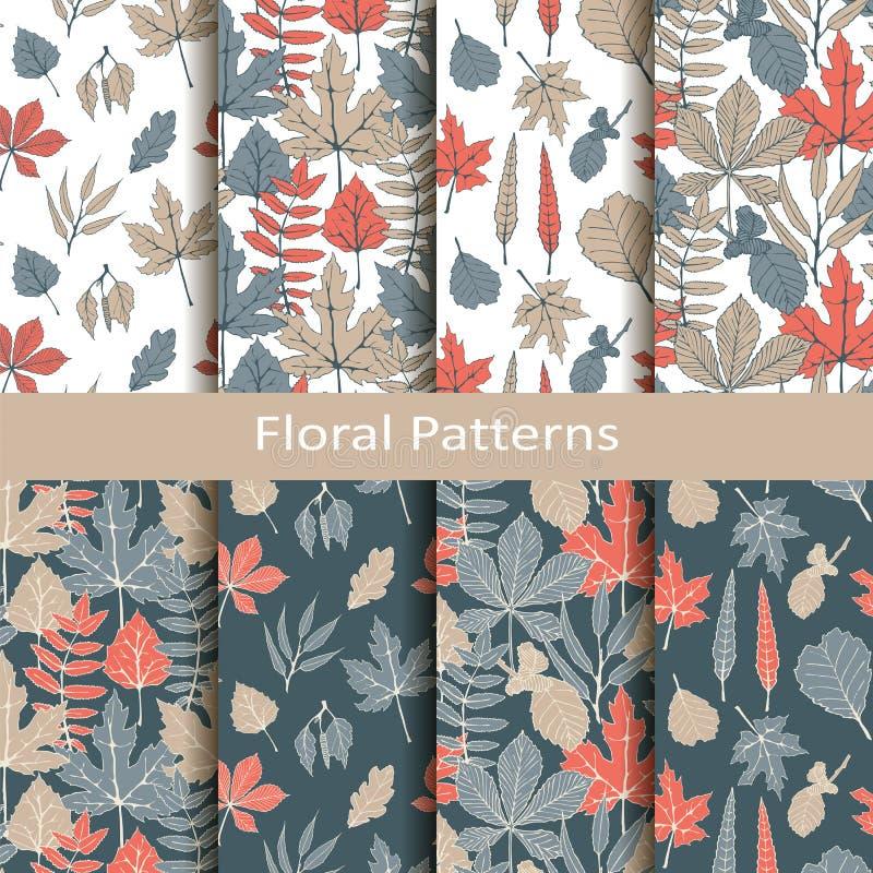 Placez avec huit modèles floraux de vecteur sans couture avec les feuilles tirées par la main conception pour empaqueter, couvert illustration de vecteur