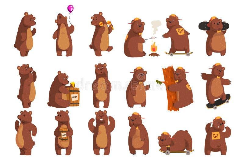 Placez avec l'ours drôle Ondulation animale de forêt par la patte, tenant le ballon, danse, hurlant, appelant quelqu'un, mangeant illustration de vecteur