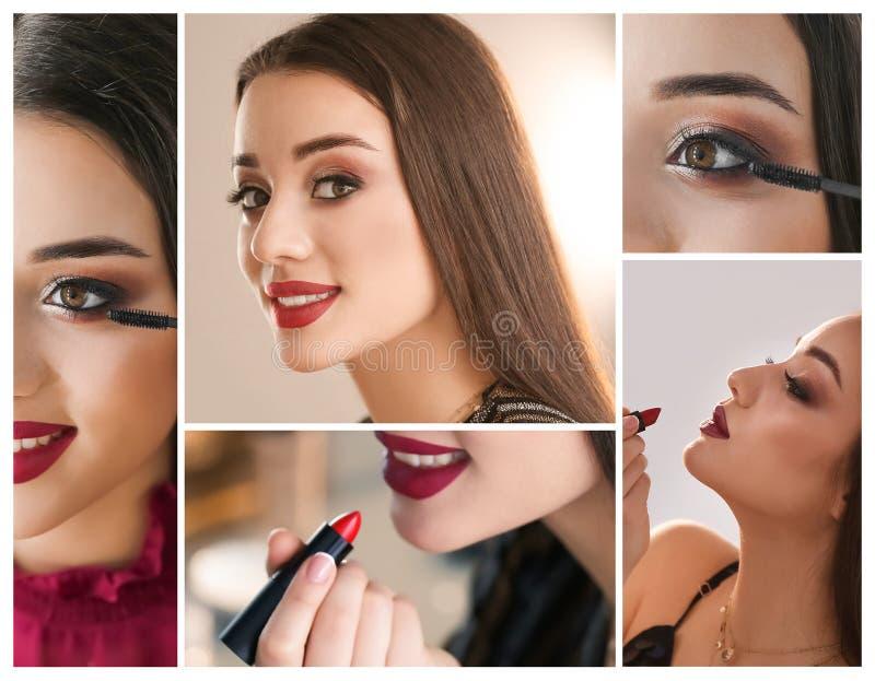 Placez avec la belle femme appliquant les cosmétiques décoratifs sur le fond léger image stock