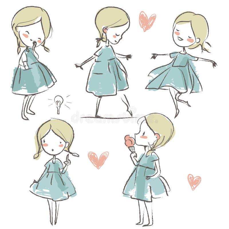 Placez avec la fille mignonne de griffonnage illustration stock