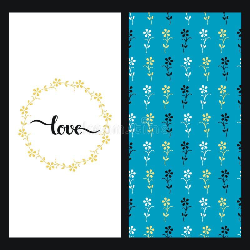 Placez avec la texture bleue sans couture avec des fleurs colorées et une carte avec amour tiré par la main de mot dans un cadre  illustration stock