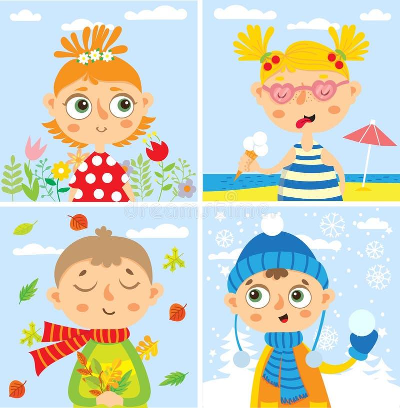 Placez avec le bébé Quatre saisons illustration de vecteur