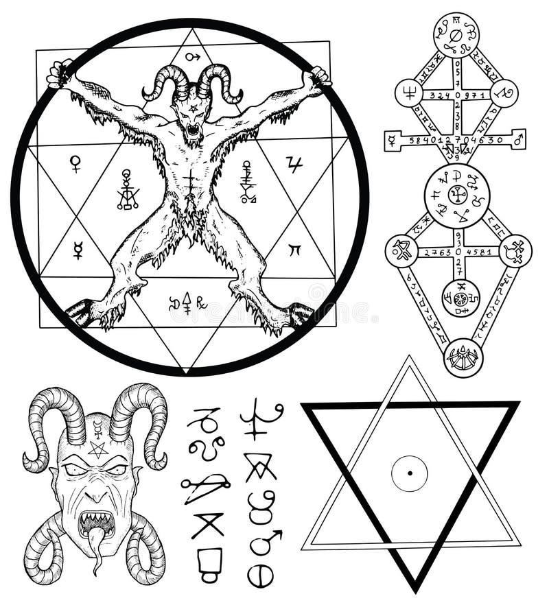 Placez avec le diable, le Satan, le pentagone étoilé et les symboles mystiques illustration libre de droits