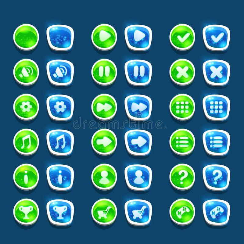 Placez avec les boutons verts et bleus brillants d'interface avec des icônes illustration de vecteur