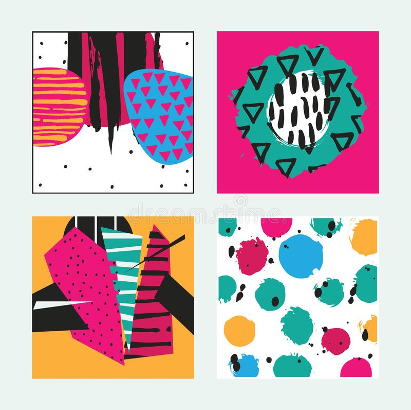 Placez avec les cartes lumineuses carrées dessinées dans le style graphique avec le modèle, les éléments et les rayures tirés par illustration stock