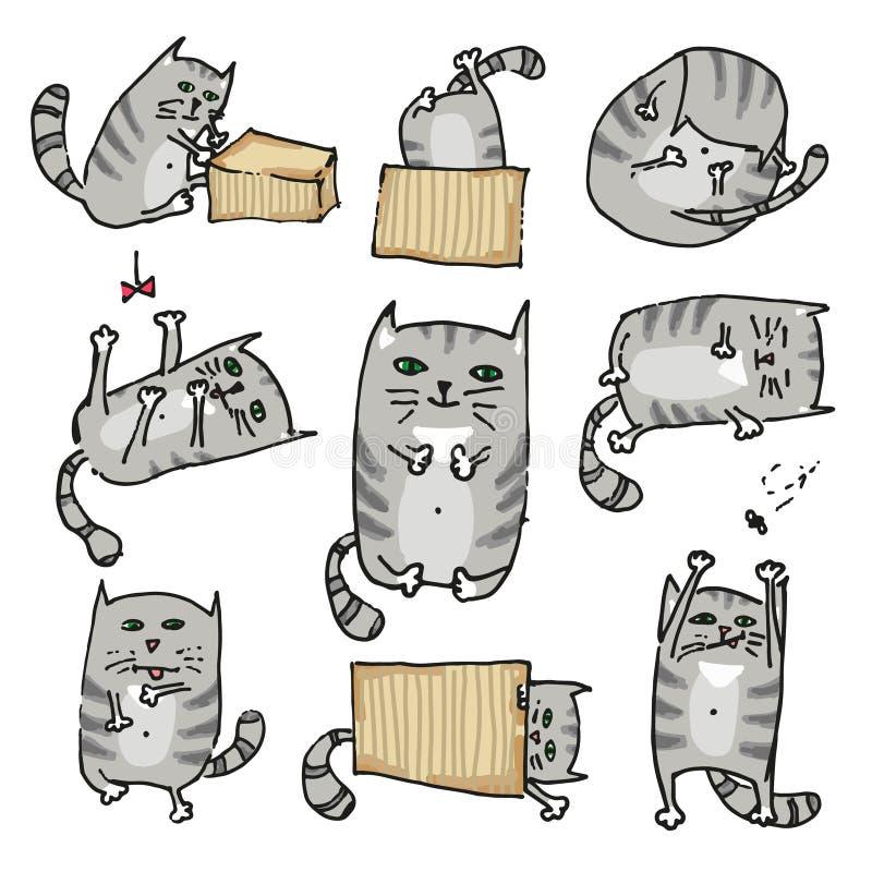 Placez avec les chats mignons dans diverses poses Vecteur illustration de vecteur