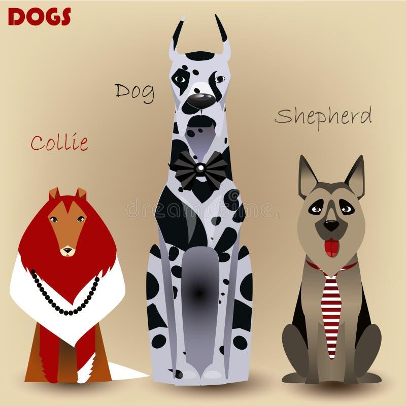 Placez avec les chiens de race illustration de vecteur