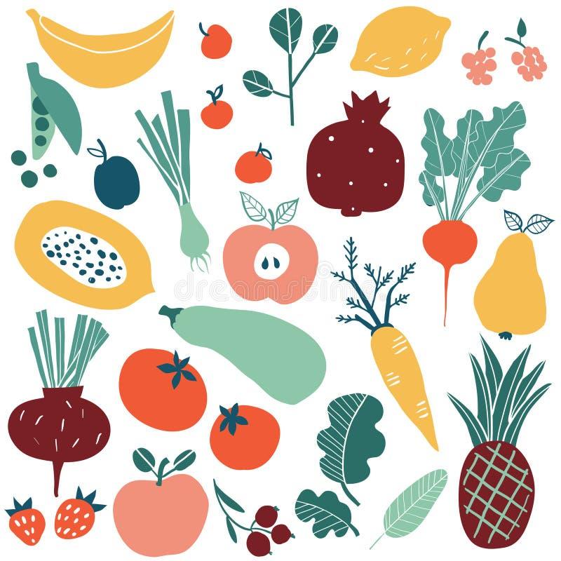 Placez avec les fruits et légumes tirés par la main de griffonnage illustration de vecteur