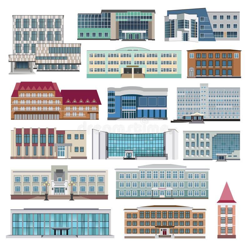 Placez avec les maisons modernes, le cottage et l'appartement de construction Vecteur illustration libre de droits