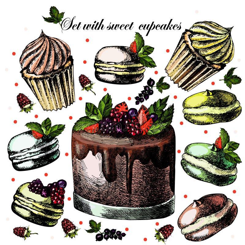 Placez avec les petits gâteaux doux illustration stock