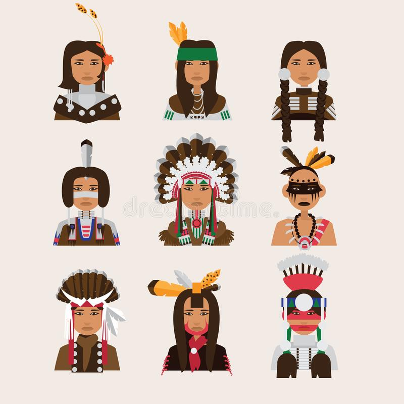 Placez avec les portraits indiens d'homme Divers style d'habillement - Apaches, Navajo, cheerokee, iroquois illustration libre de droits