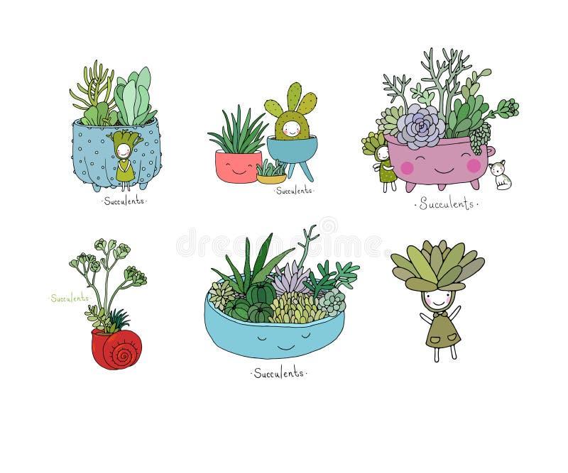 Placez avec les succulents mignons de bande dessinée illustration stock