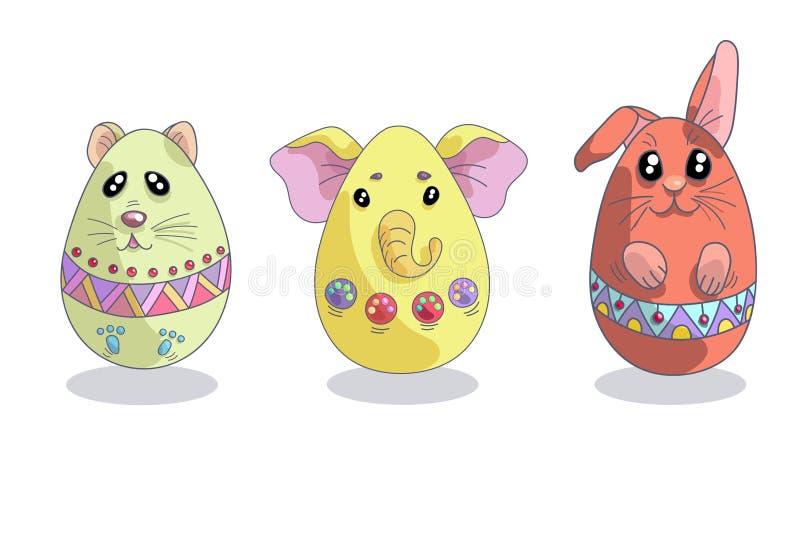 Placez avec 3 oeufs de pâques mignons dans les formes des animaux illustration stock