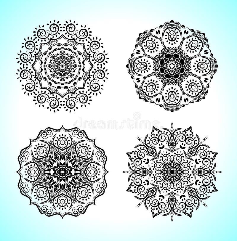 Placez avec quatre beaux mandalas Dirigez les ornements, éléments décoratifs ronds pour votre conception illustration de vecteur