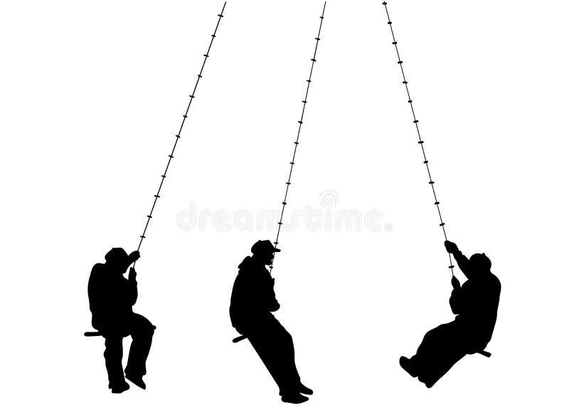 Placez avec un homme sur le bungee Oscillation sur une longue corde Illustration de vecteur illustration libre de droits