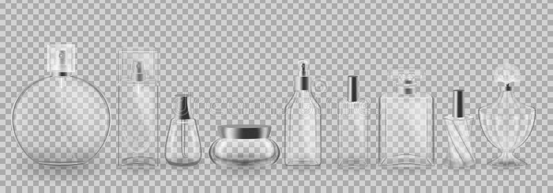 Placez, collection de paquets cosmétiques en verre Maquette réaliste, calibres illustration de vecteur