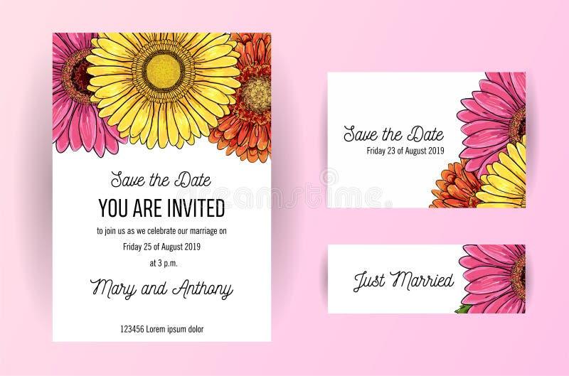 Placez d'épouser la carte d'invitation avec des fleurs de gerbera Calibre de conception d'invitation du mariage A5 sur le fond bl illustration libre de droits
