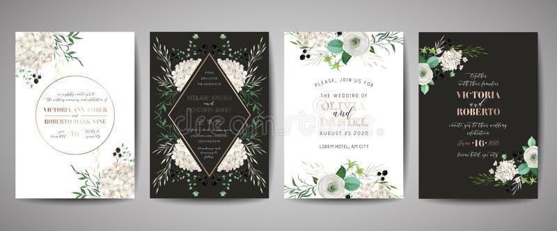 Placez d'?pouser l'invitation, floral invitent, merci, design de carte rustique de rsvp avec la d?coration de feuille d'or Calibr illustration libre de droits