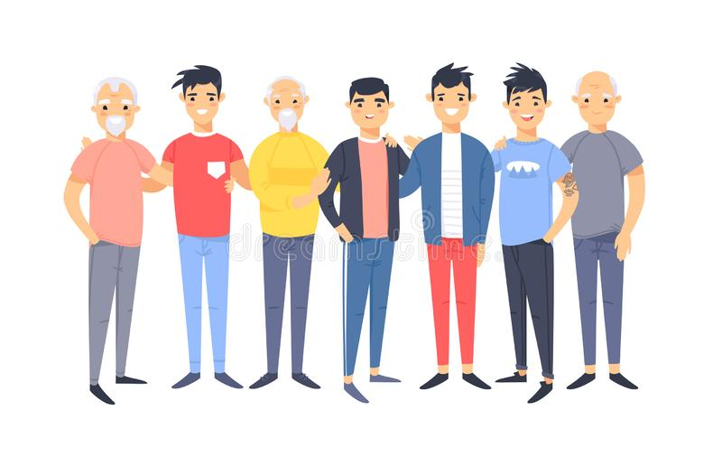 Placez d'un groupe de différents hommes américains asiatiques Caractères de style de bande dessinée de différents âges Personnes  illustration stock