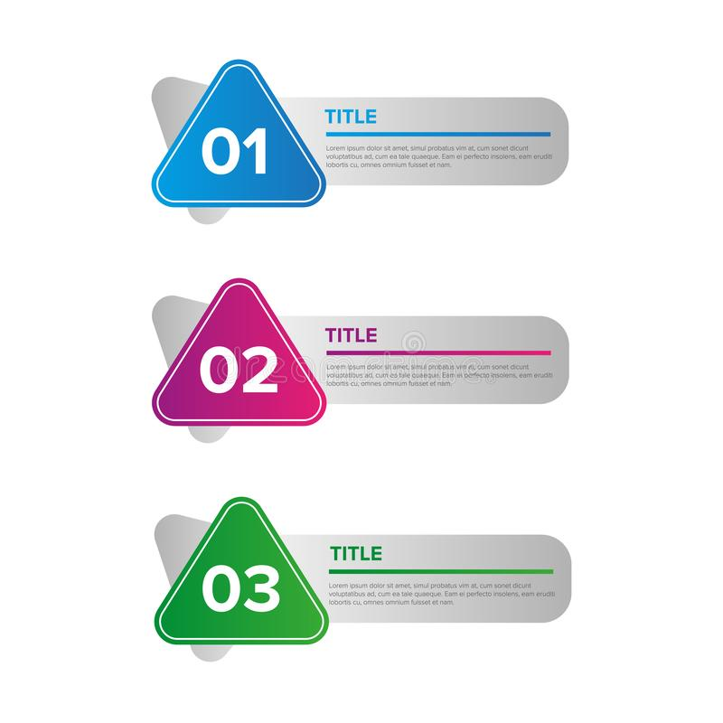 Placez de 3 éléments d'infographics Illustration de vecteur faite avec des formes et des gradients géométriques simples Conçu pou illustration stock