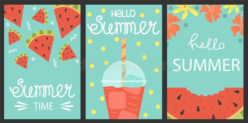 Placez de 3 affiches d'été Concept de construction de vecteur pour l'été pastèques illustration stock