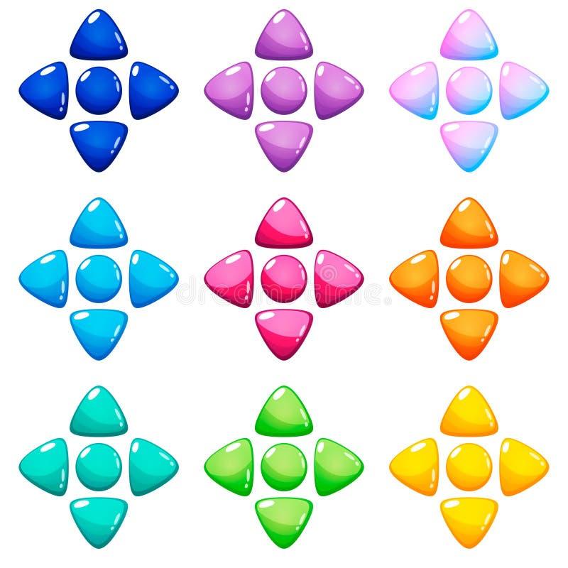 Placez de 9 calibres de boutons de navigation de couleurs, gauche brillante, droite, à travers des flèches illustration stock