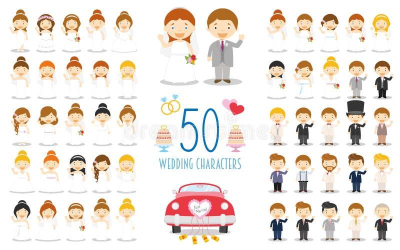 Placez de 50 caractères les épousant et d'icônes nuptiales dans le style de bande dessinée illustration stock