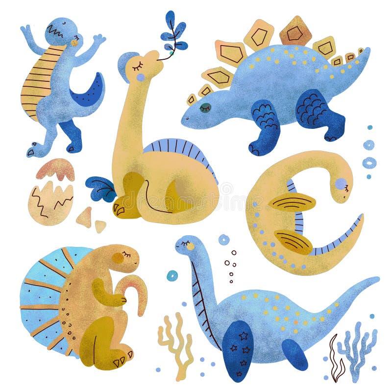 Placez de 5 caract?res texturis?s tir?s par la main de couleur mignonne de dinosaure Clipart tir? par la main plat de Dino Reptil illustration stock