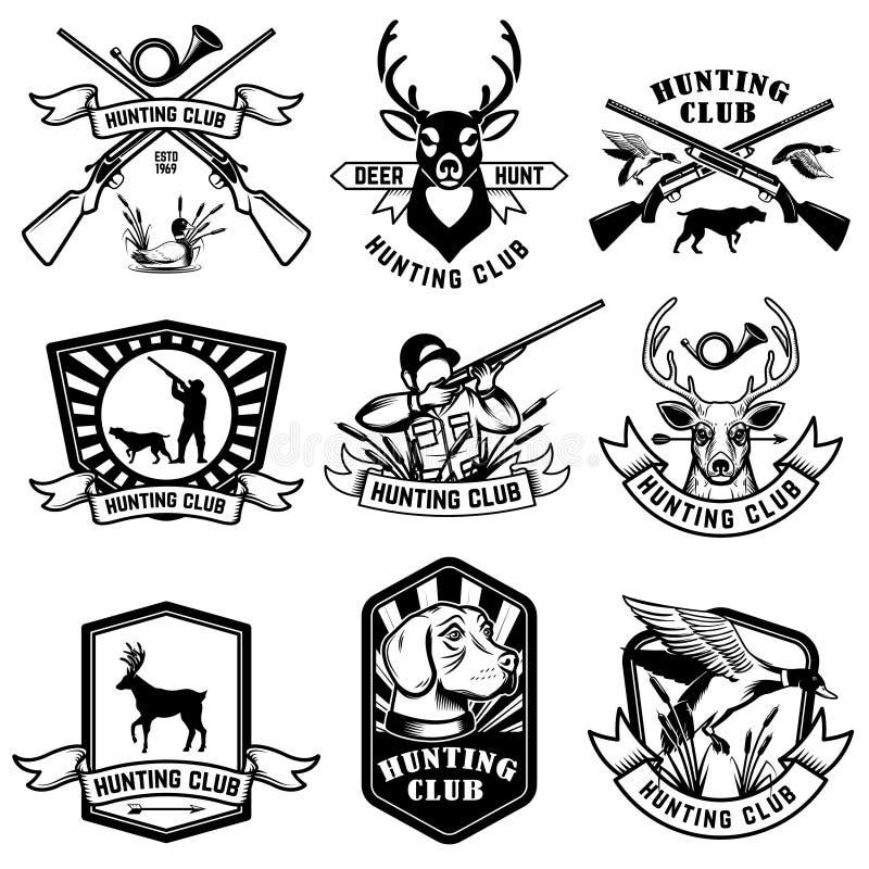 Placez de chasser des emblèmes Chasse de l'arme, des animaux et des éléments de conception illustration stock