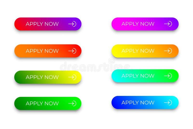 Placez de coloré lumineux appliquent maintenant des boutons illustration stock