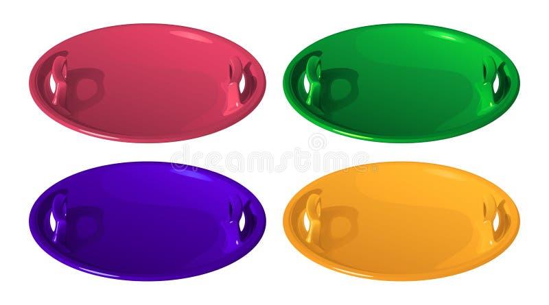 Placez de couleur quatre autour du glace-bateau en plastique rouge des traîneaux des enfants pour skier d'une glissière de glace, illustration stock
