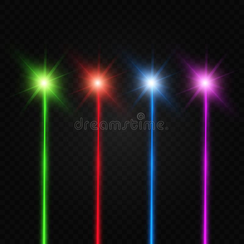 Placez de couleurs de r?sum? ? rayon laser Transparent est isol? sur un fond noir illustration libre de droits