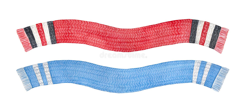 Placez de deux écharpes tricotées colorées multi différentes illustration stock