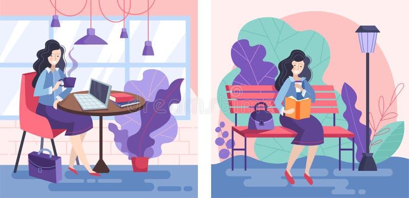 Placez de deux conceptions des femmes d'affaires appréciant une coupure une se reposant à un café potable de restaurant tout en t illustration stock