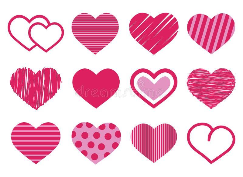 Placez de 12 diverses icônes rouges et roses mignonnes de vecteur de coeur avec des rayures et des points d'isolement sur blanc,  illustration libre de droits